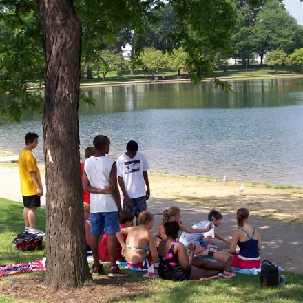 People Under a Tree near a Lake